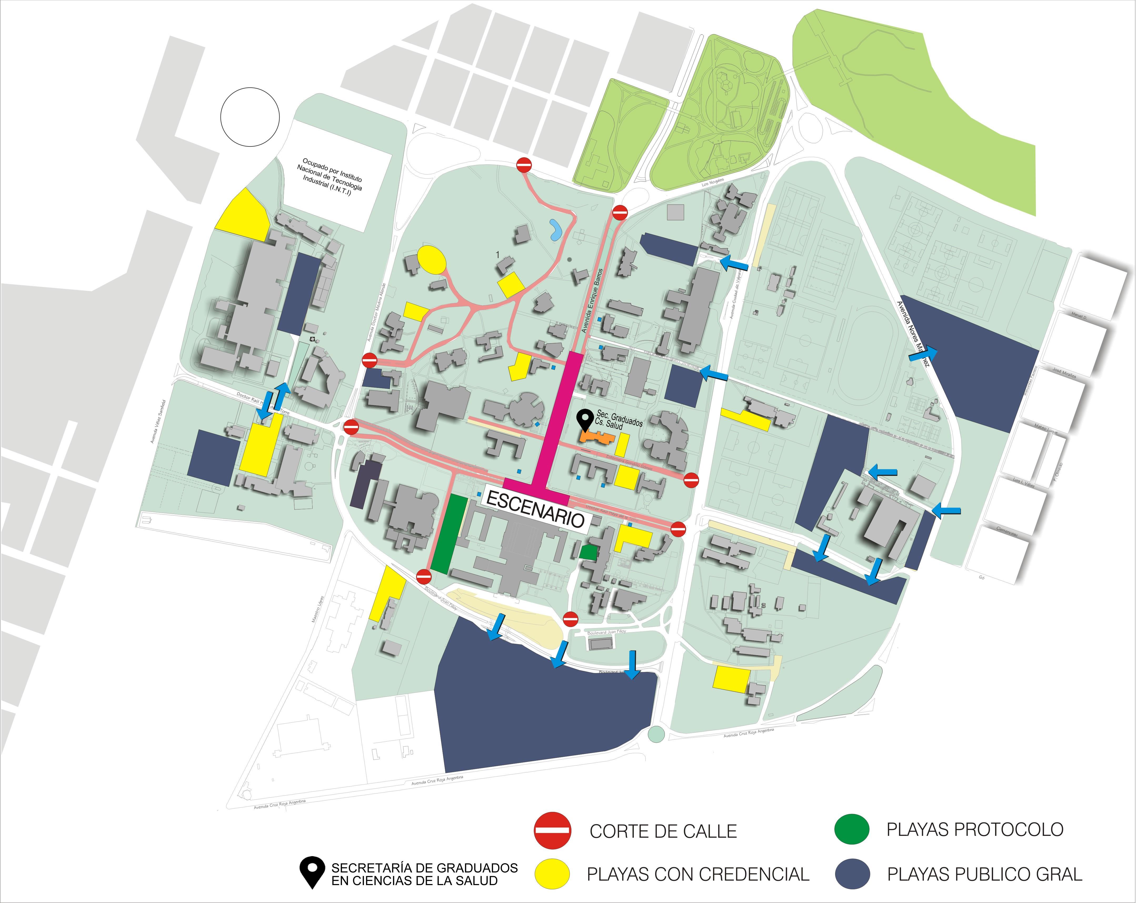 Playas con credencial (color amarillo): para  personal docente y nodocente que posee credencial de acceso al estacionamiento.