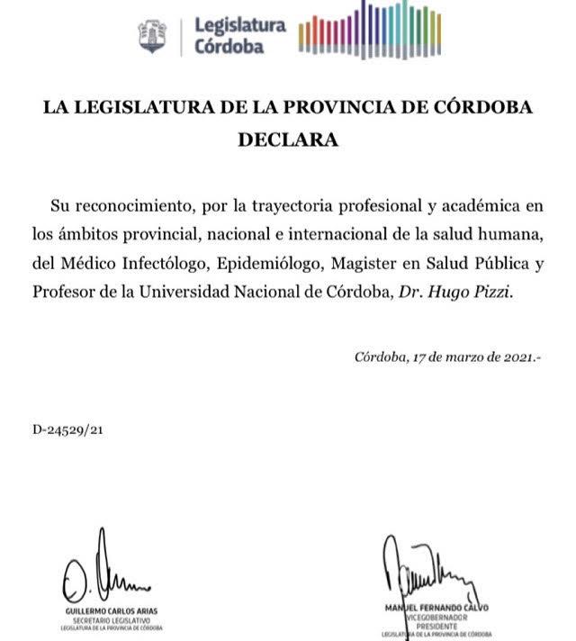 La Legislatura de la Provincia de Córdoba otorgó un reconocimiento al Dr. Hugo Luis Pizzi